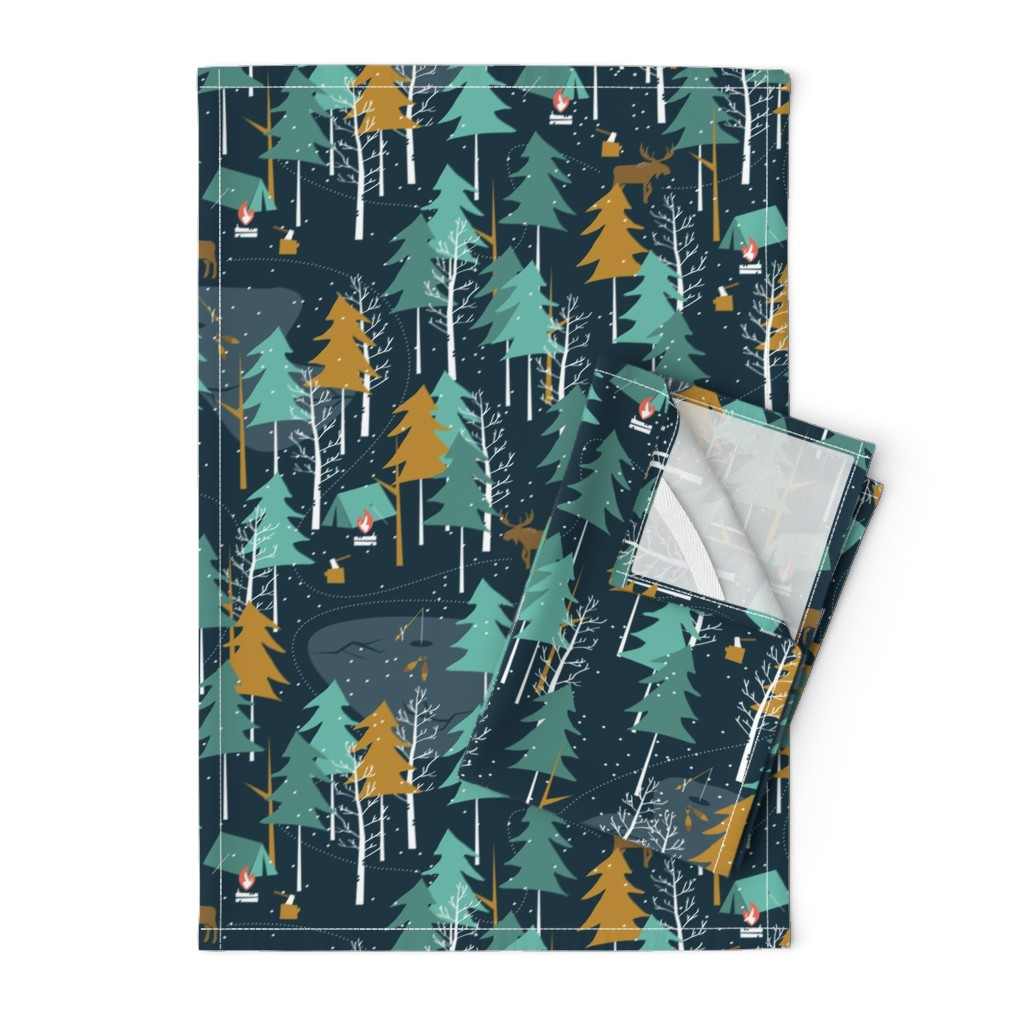 Orpington Tea Towels featuring Winter Camping - Large Scale by papercanoefabricshop