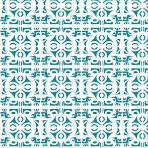 TRIBAL HORNS Turquoise and White