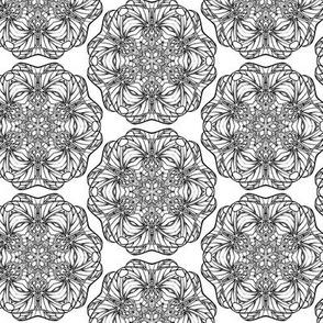 Dragon Circles Black and White