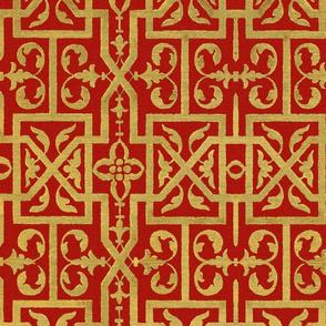 Renaissance Scrollwork Trellis ~ Gilt on Turkey Red