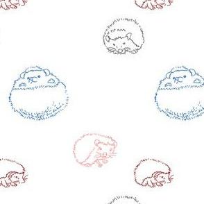 hedgehog polka Multi  on white