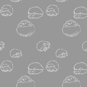 hedgehog polka white on gray