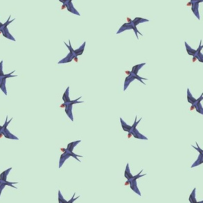 Vintage Swallows on Seafoam