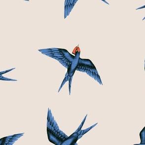 Swooping Swallows Blue on Vanilla // standard