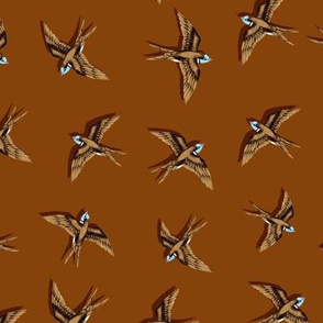 Swooping Swallows Bronze on Rich Brown // small