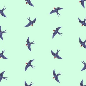 Swallows in Pale Mint
