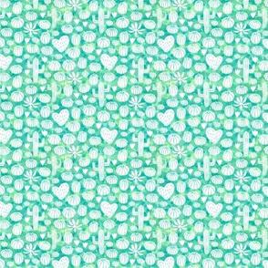 Watercolor cacti on mint (mini)