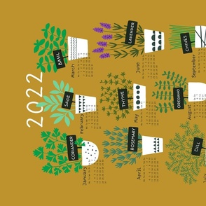 Herbs tea towel calendar 2021 (mustard)