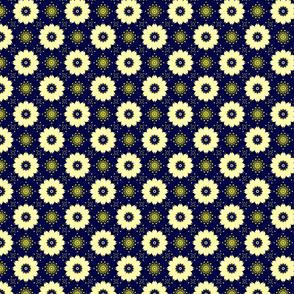 Ivory Flowers on Dark Blue