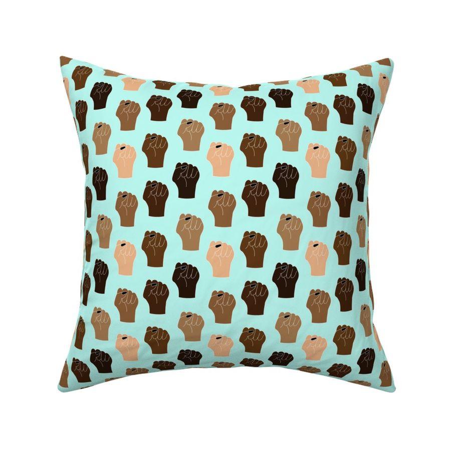 Feminist  Masks Rectangle Lumbar Throw Pillow by Spoonflower Blue Accent Pillow Black Lives Matter Large Scale by ashleysummersdesign