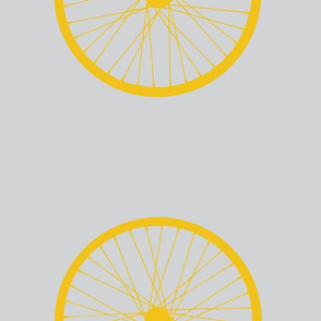 XL Yellow Bike Wheel on Gray Grey