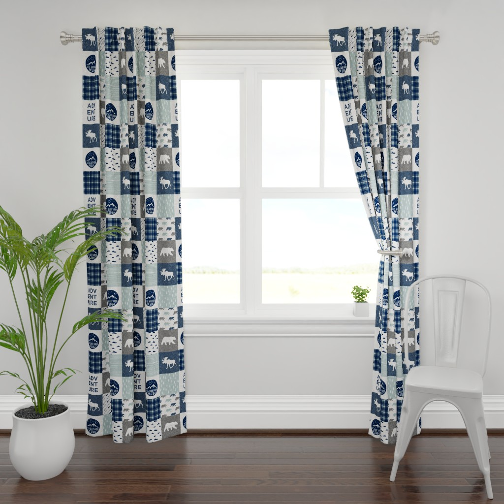 Plymouth Curtain Panel featuring the happy camper wholecloth || navy and dusty blue by littlearrowdesign