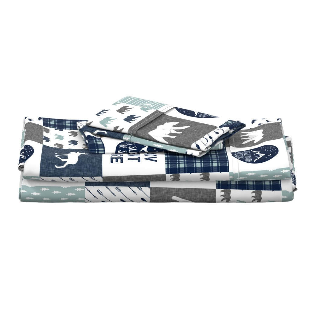 Langshan Full Bed Set featuring the happy camper wholecloth || navy and dusty blue by littlearrowdesign