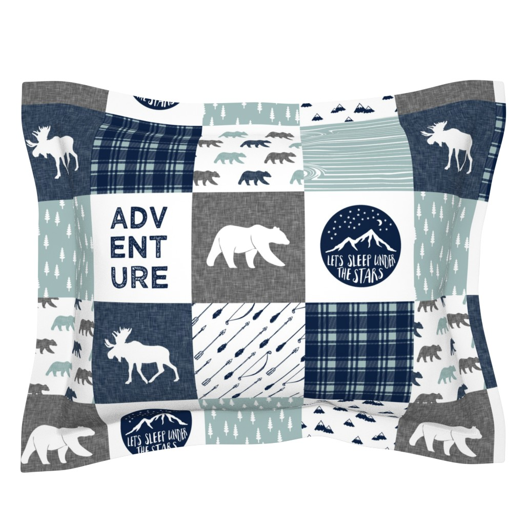 Sebright Pillow Sham featuring the happy camper wholecloth || navy and dusty blue by littlearrowdesign