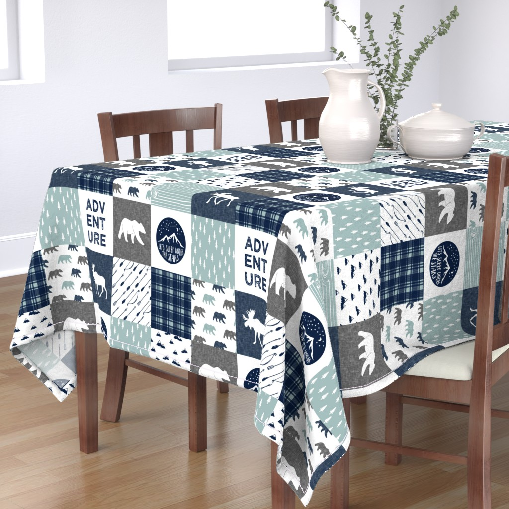 Bantam Rectangular Tablecloth featuring the happy camper wholecloth || navy and dusty blue by littlearrowdesign