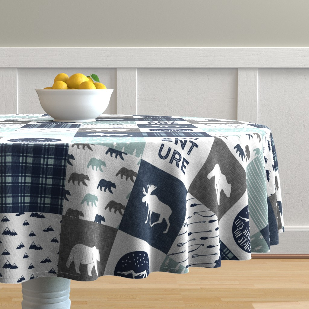 Malay Round Tablecloth featuring the happy camper wholecloth || navy and dusty blue by littlearrowdesign