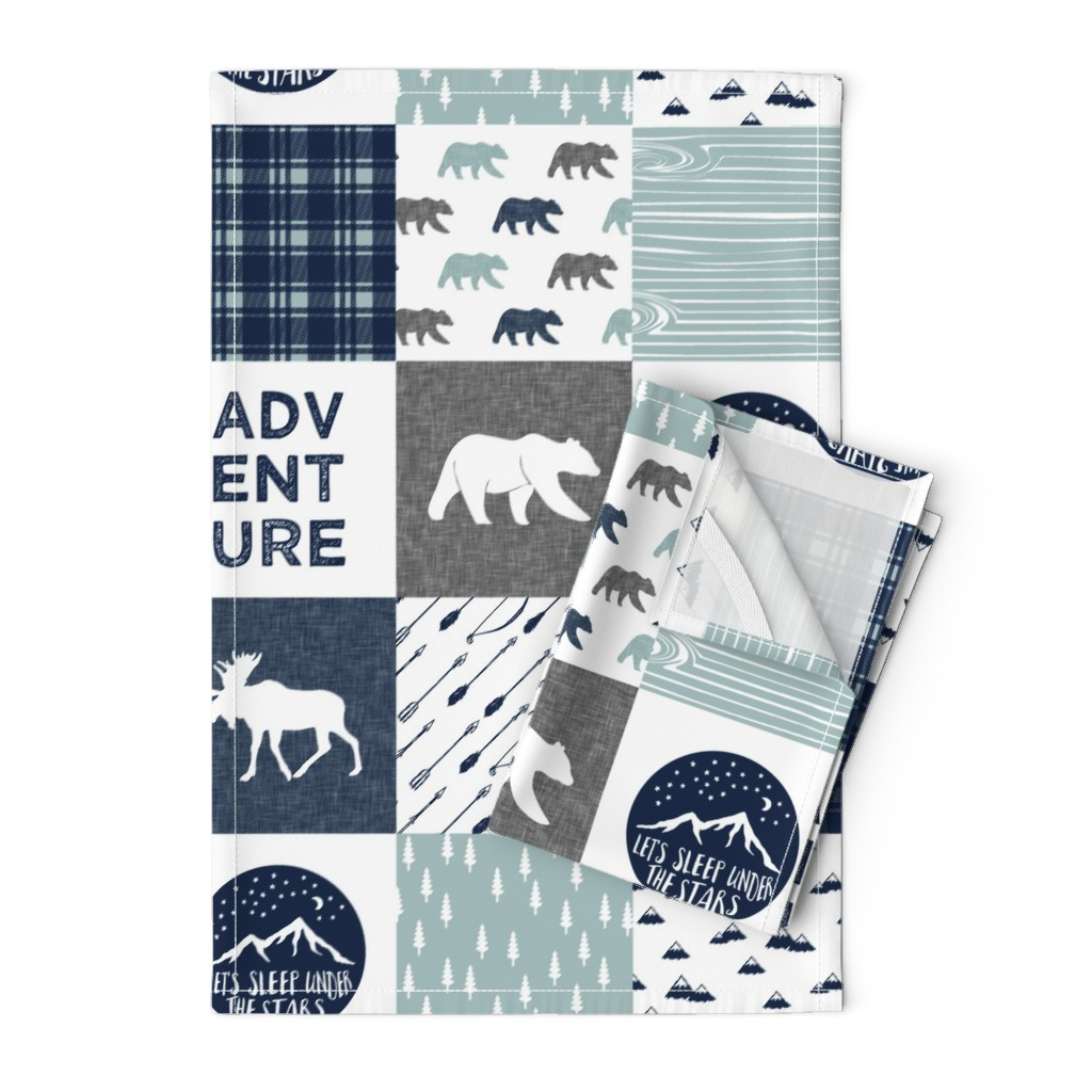 Orpington Tea Towels featuring the happy camper wholecloth    navy and dusty blue by littlearrowdesign