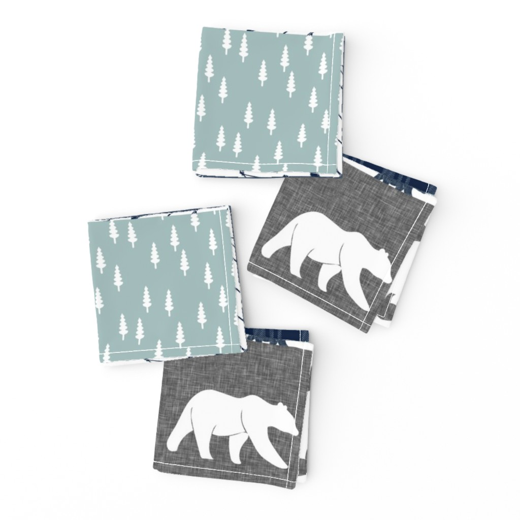 Frizzle Cocktail Napkins featuring the happy camper wholecloth || navy and dusty blue by littlearrowdesign