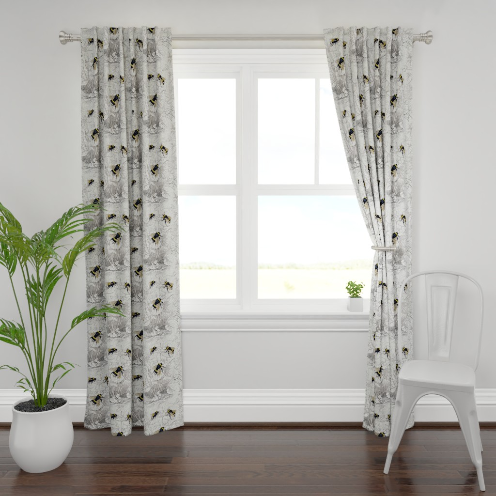 Plymouth Curtain Panel featuring Humble Bee Honey Bee Floral Flowers by magnoliacollection