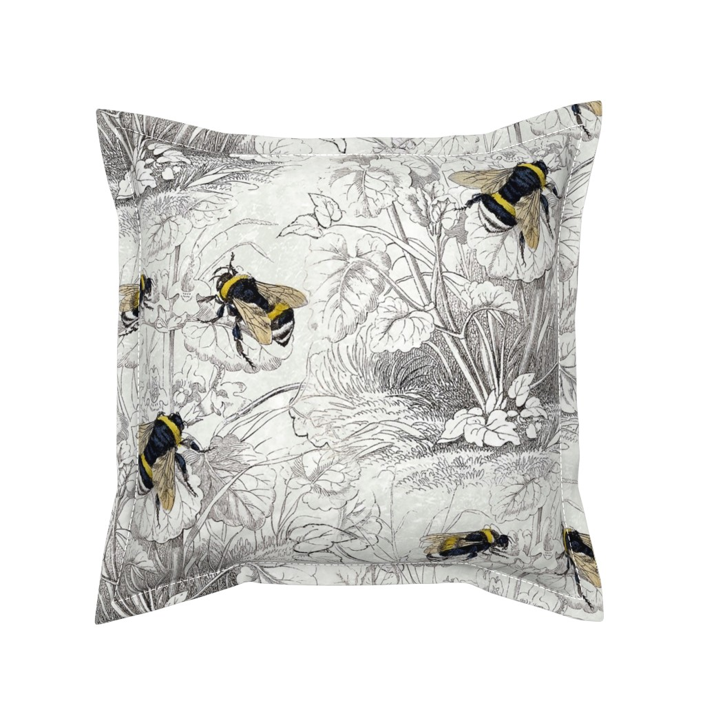 Serama Throw Pillow featuring Humble Bee Honey Bee Floral Flowers by magnoliacollection