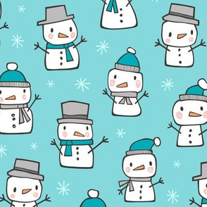 Winter Christmas Snowman & Snowflakes in Blue