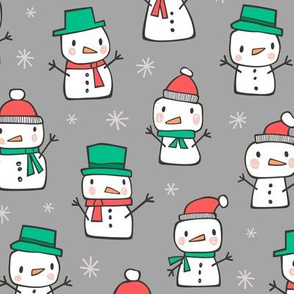 Winter Christmas Snowman & Snowflakes Red Green on Grey