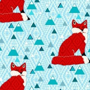 Scandinavian Geometric Fox with blue mountains