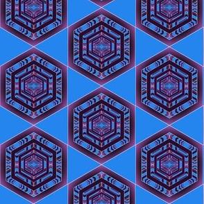 Purple Hexagons on Blue