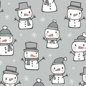 Winter Christmas Snowman & Snowflakes in Grey