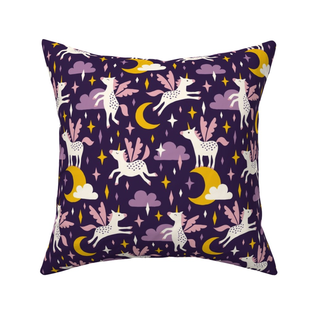 Catalan Throw Pillow featuring Unicorns in the sky in purple (dark) by heleen_vd_thillart