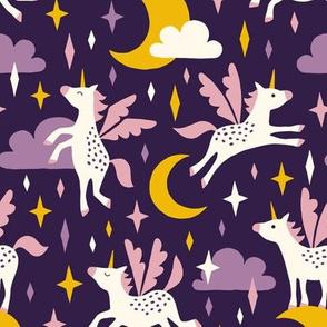 Unicorns in the sky in purple (dark)