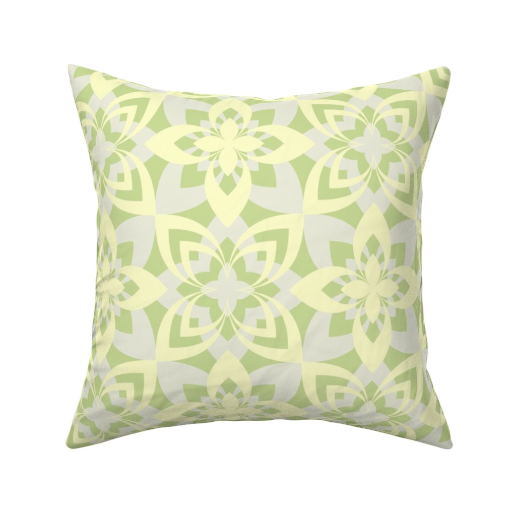 Catalan Throw Pillow featuring Eight Leaf Flower - Yellow Green by zuzana_licko