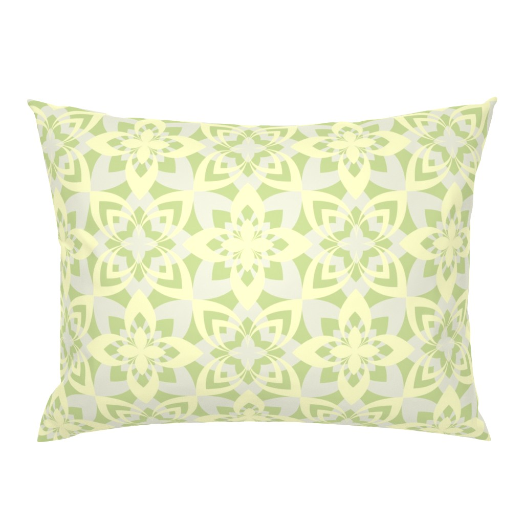 Campine Pillow Sham featuring Eight Leaf Flower - Yellow Green by zuzana_licko