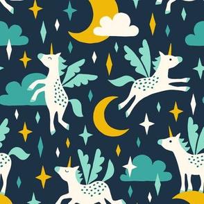 Unicorns in the sky in turquoise (dark)