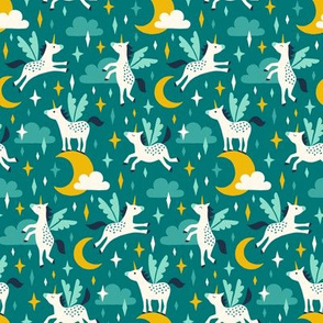 Unicorns in the sky in turquoise (small)