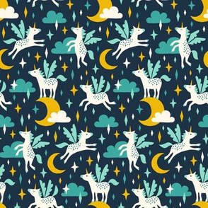 Unicorns in the sky in turquoise (small/dark)