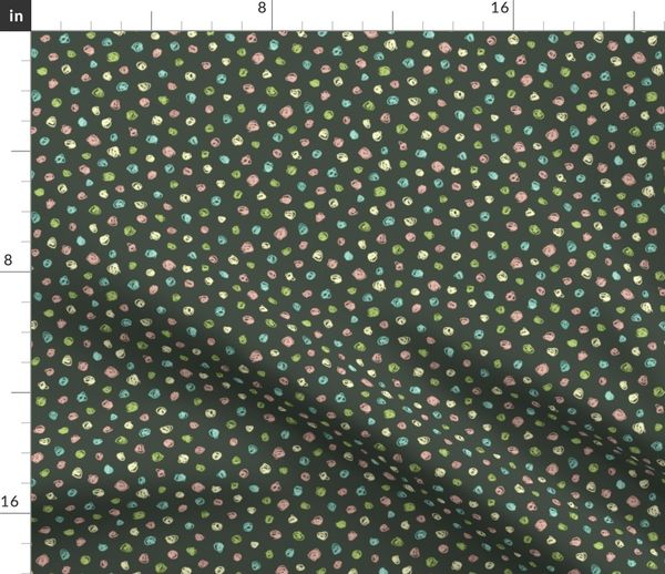 Fabric By The Yard Colorful Chalk Polkadots Oolong