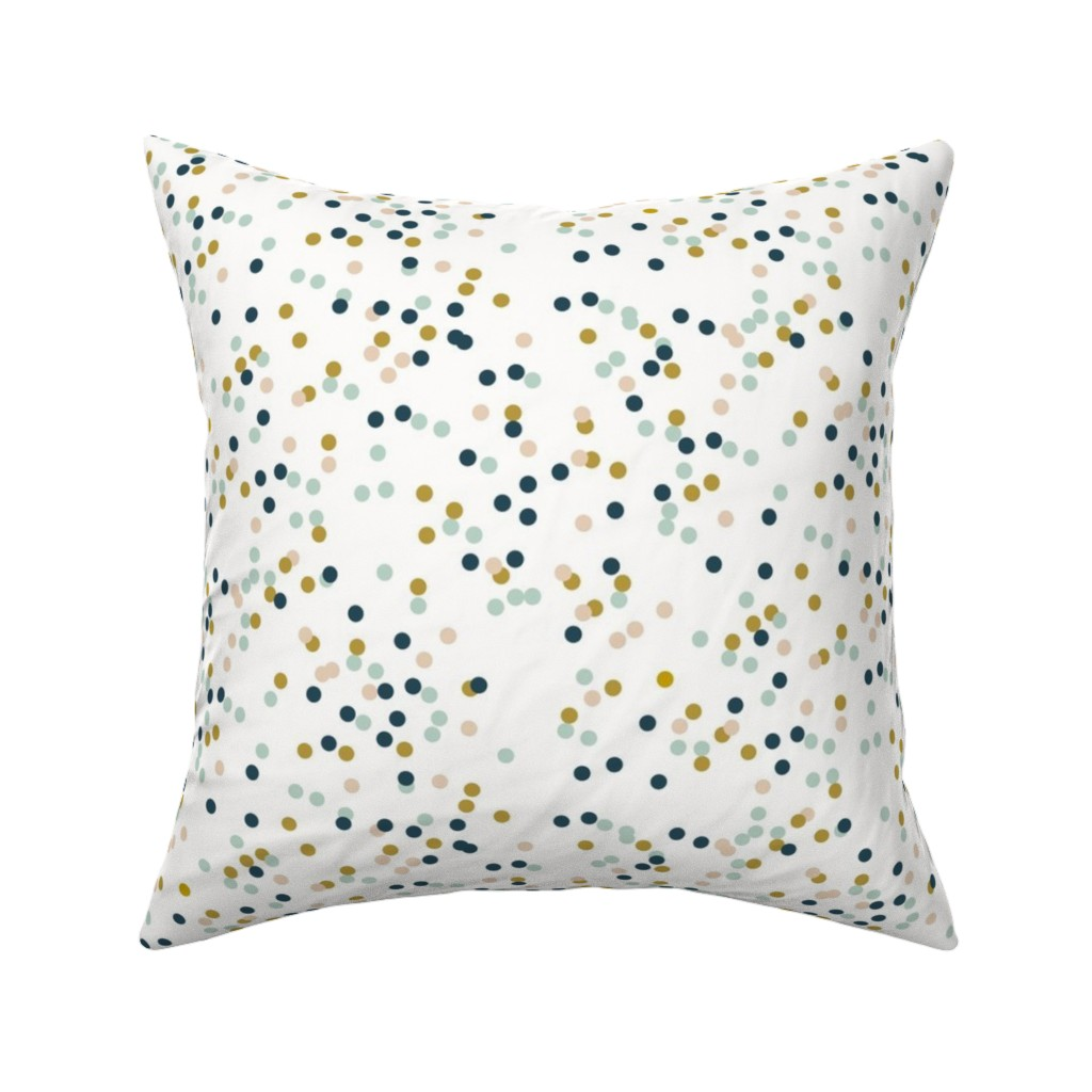 Catalan Throw Pillow featuring Confetti dots - mustard navy mint nude tiny dots || by sunny afternoon  by sunny_afternoon