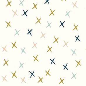Crosses stars navy mustard mint and nude