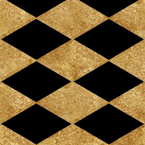 Harlequin Diamonds ~ Black and Antique Gold Mosaic  ~ Rotated