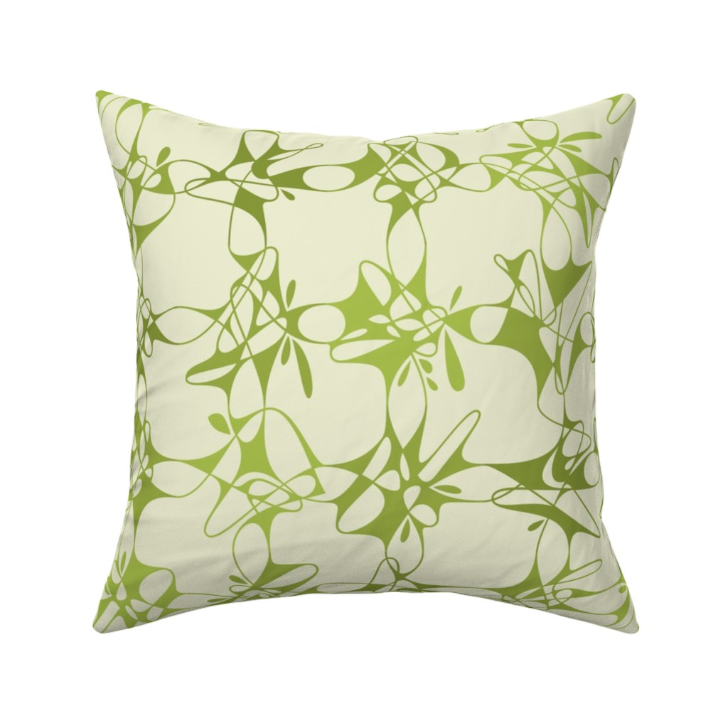 Catalan Throw Pillow featuring loopy lace - green by zuzana_licko