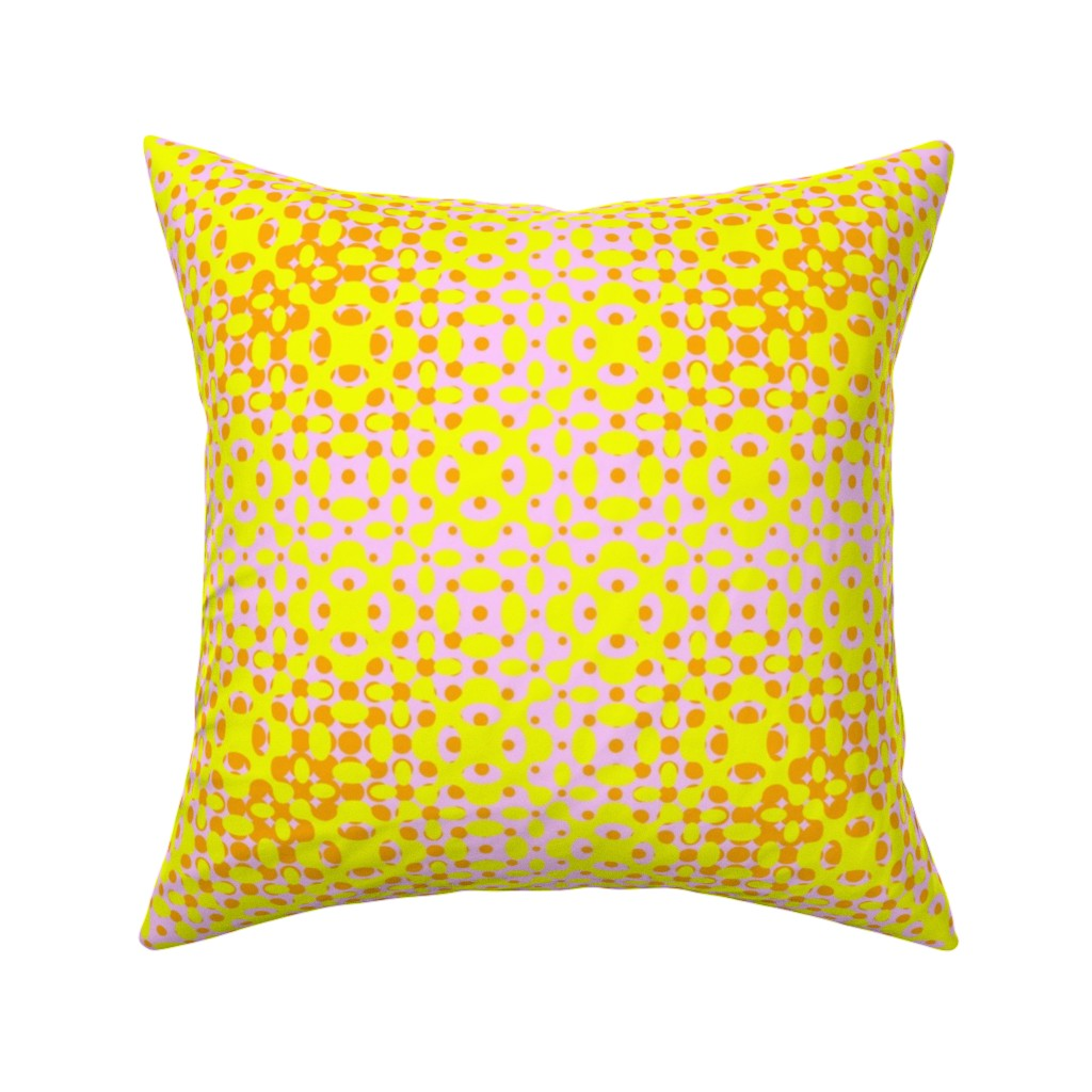 Catalan Throw Pillow featuring Glowing Dots - Bright Yellow by zuzana_licko