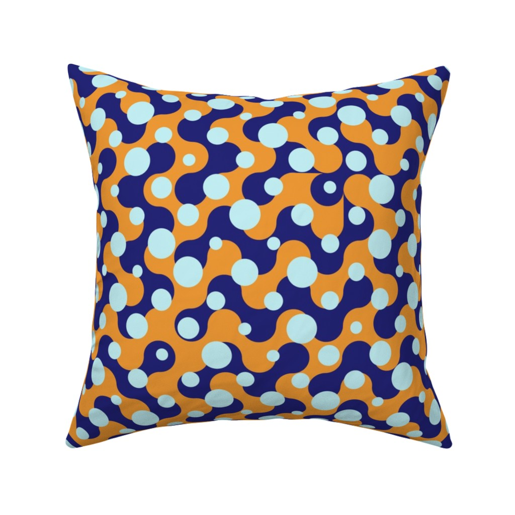 Catalan Throw Pillow featuring Effervescent Dots - Blue Orange by zuzana_licko