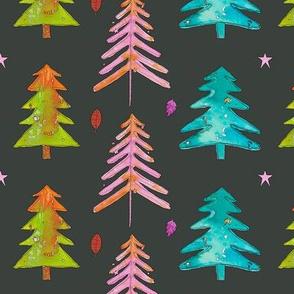 Watercolor Christmas Trees 2016