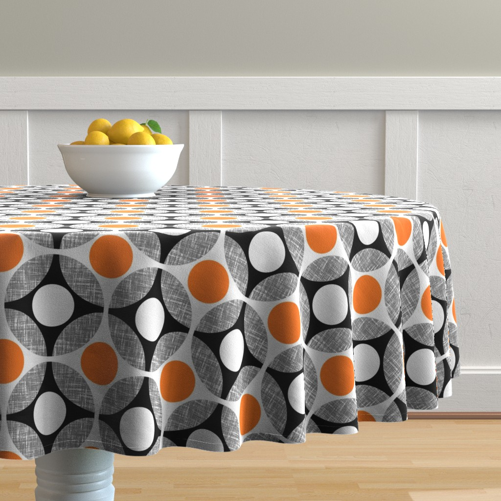 Malay Round Tablecloth featuring Mod (Gooey) Fried Eggs in Orange + white by Su_G_©SuSchaefer by su_g