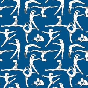 Gymnasts on Dark Blue