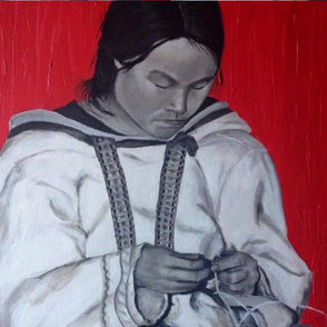 Inuit mother sewing