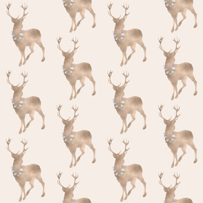 Buck-  floral decorated deer in tan taupe brown