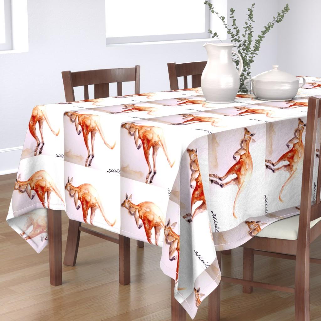 Bantam Rectangular Tablecloth featuring Big Red Kangaroo by Liz Lovell by lizhlovell