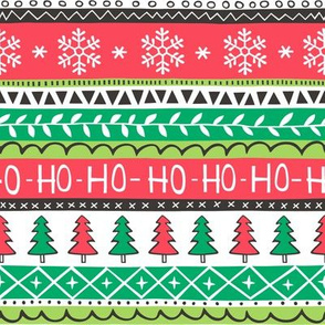 Christmas Xmas Stripes Snowflakes Trees Red Green